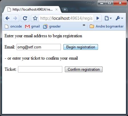 Submitting email as a registration request