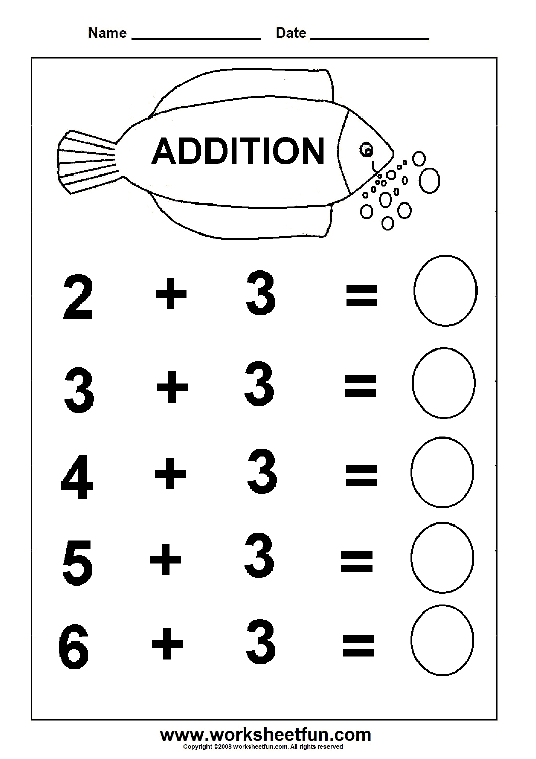 Simple Fraction Free Worksheet For Kindergarten