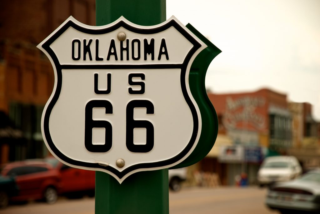 Route 66 sign in Oklahoma.