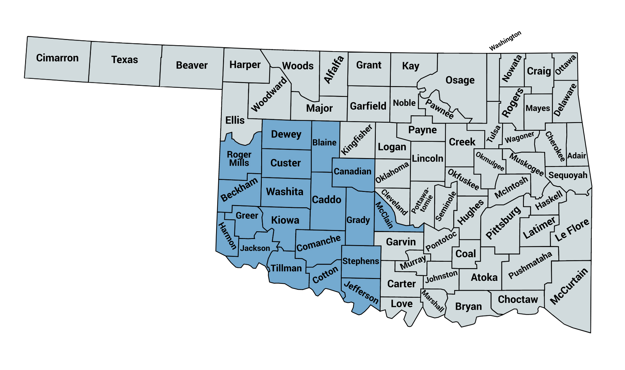 Map of counties served by the Oklahoma Southwest Alliance