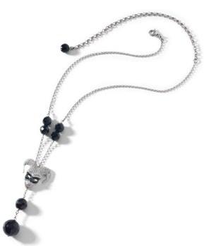 collana in argento placcato oro con pietre di onice, particolare mascherina in argento satinato, zirconi bianchi e smalto nero