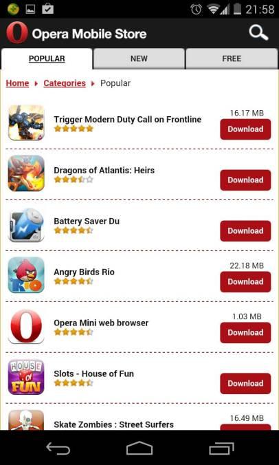 Opera Mobile Store (alternative à Google Play)