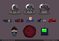Soucoupes et armes. Quel est l'OS de l'ordinateur en bas à droite ? ;) (Crazy Planets par Playfish)