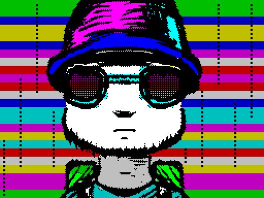 Un style très affirmé pour cette image et cet effet qui camouflent habilement les contraintes de blocs du ZX Spectrum. TbMA par SibCrew (ZX Spectrum, 2017) https://demozoo.org/productions/167045/