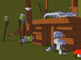 Une scène 3D originale avec un rendu cartoon. Caillou par Mandarine (Windows, 2000) https://demozoo.org/productions/49376/