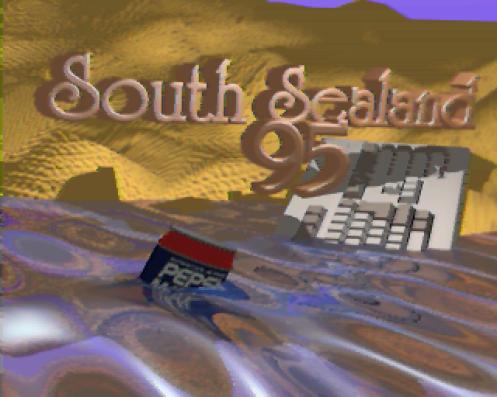 """Dès la fin des années 1980, les machines Amiga disposaient des modes graphiques high-color HAM qui leur permettaient d'afficher des milliers de couleurs à l'écran, au prix de grosses contraintes techniques visibles sous la forme de """"bavures"""" lors de changements soudains de couleurs sur une même ligne. South Sealand 1995 Invitation par Focus Design (Amiga ECS, 1995) https://demozoo.org/productions/166912/"""