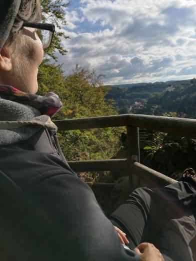 Herbstwanderung im Trubachtal Pause am Berg