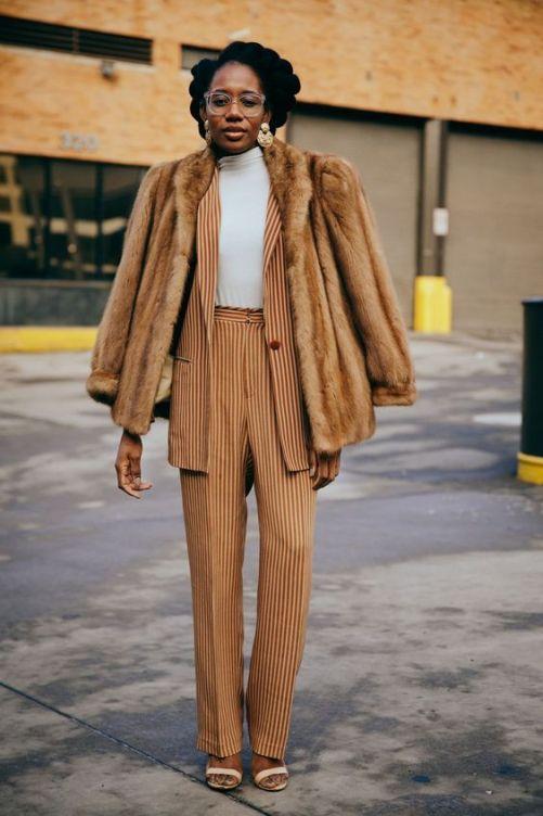 beige pin pant suit