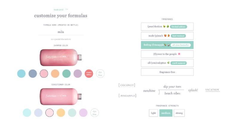screenshot of Function of Beauty formula customization options