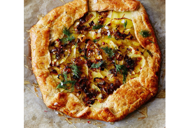 Photo of a Potato, leek, and goat cheese galette.