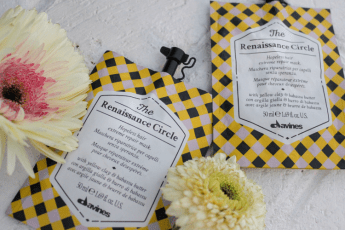 photo of two packets of Davines The Renaissance Circle hair mask