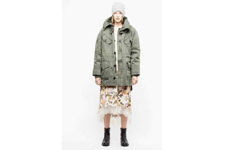 Light green distressed parka by Zadia & Voltaire
