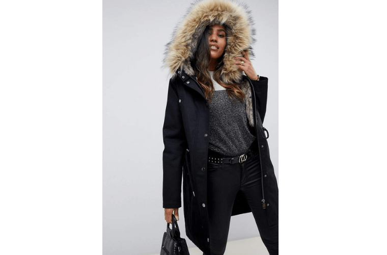 Black parka with faux fur removable hood from ASOS