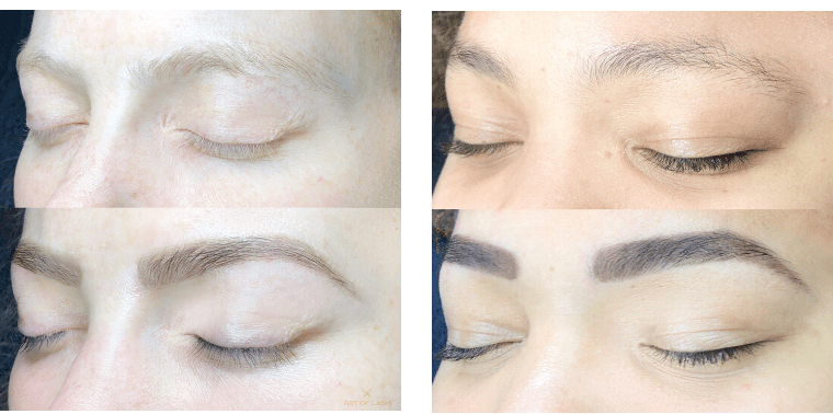 before and after photos of brow tinting, brow shaping, and brow henna