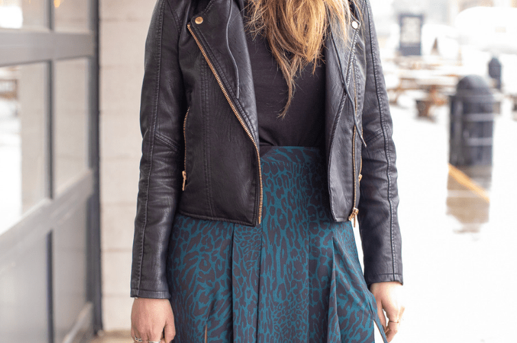 photos of Topshop leopard skirt and BlankNYC leather jacket