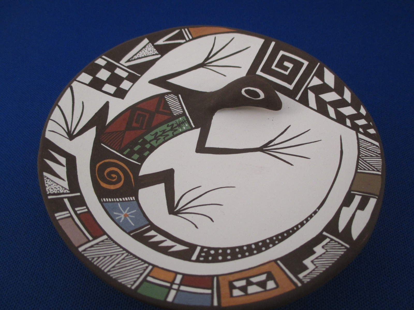 Acoma Pottery Plate With Lizard