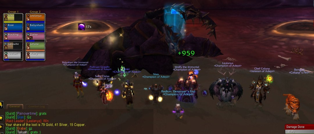 Screenshot of Adept's main raid team after defeating Heroic Zon'ozz