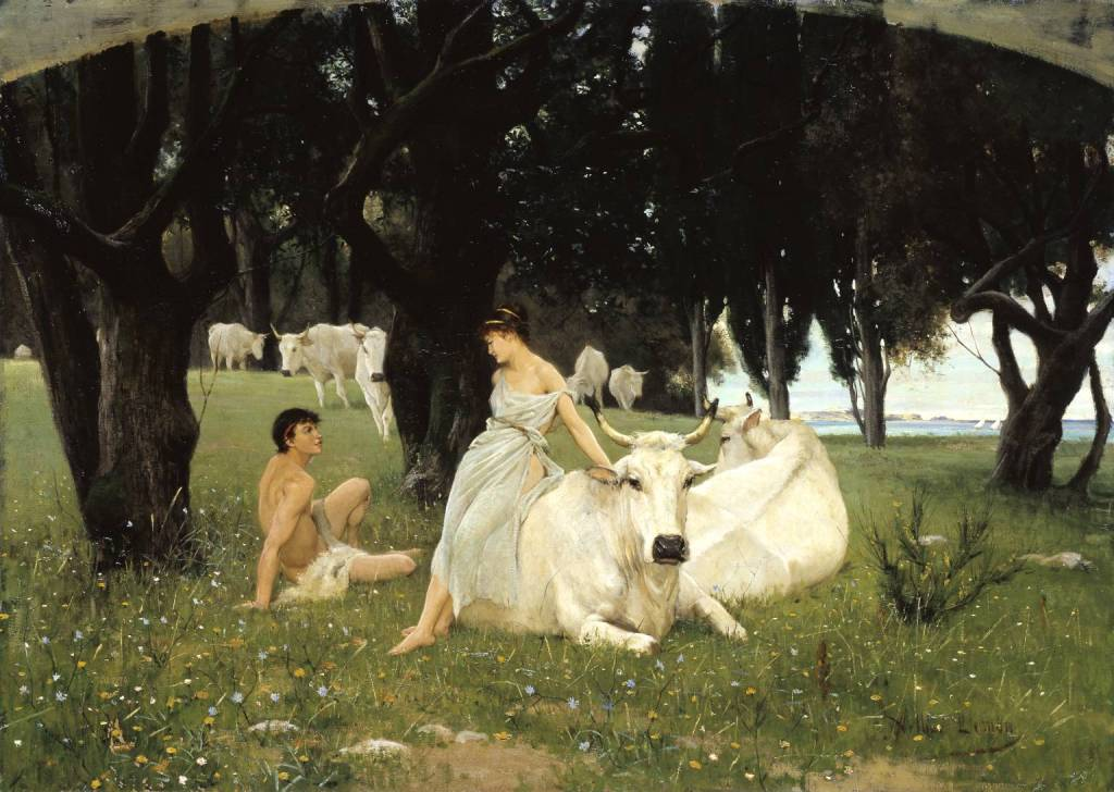 The Wooing of Daphnis exhibited 1881 by Arthur Lemon 1850-1912