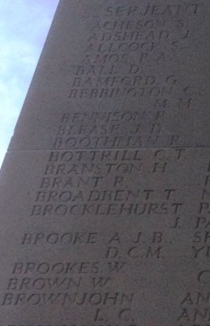 8047 Sgt Percy Amos. KiA 1/7/16. Co-Op Architects Dept. 9045 Sgt Lewis Charles Brownjohn KiA 30/7/16. Teacher at St Luke's School