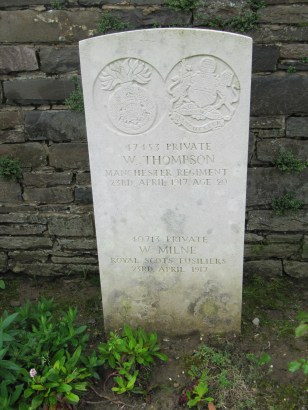 W Thompson Remembered with Honour Cherisy Road East Cemetery, Heninel In Memory of Private 47453, 17th Bn., Manchester Regiment who died on 23 April 1917 Age 20 Son of Robert and Mary Jane Thompson.