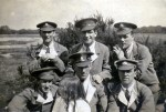 Frank Dunn Front Right- and other troops wearing hospital blues.