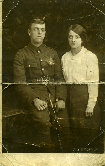Frank Dunn with his new wife. This photo was carried in his tunic during his time on the Somme.