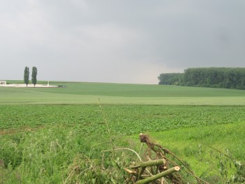 View from Position of former Guillemont station with clear field of fire towards line of advancing British troops