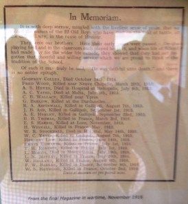 November 1916 Roll of Honour