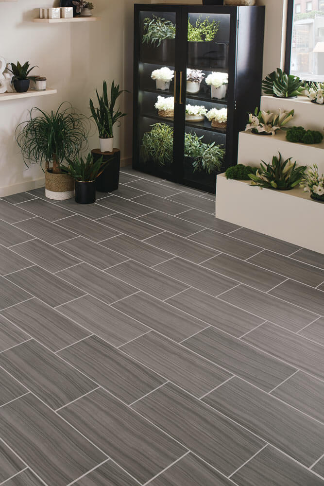 flower shop with cement gray wood look