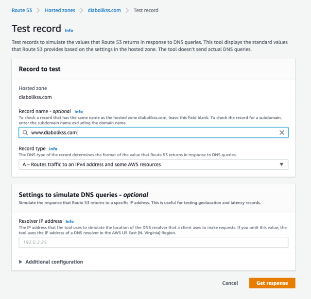 AWS Test Record