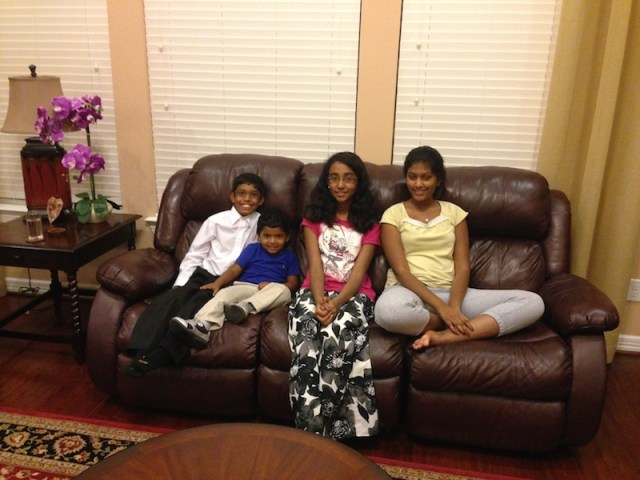 Me and my brother with our my mama's friend's kids – Aarthi and Kritika