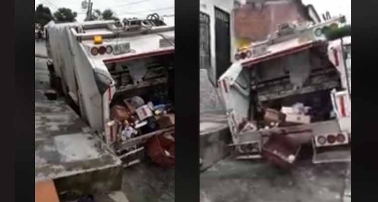 El suelo se tragó el carro de la basura en La Tebaida