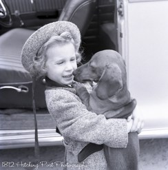 """Happy"" Henkel, dog of CV and Mimi Henkel, held by one of the nieces"