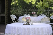 Lace and rustic centerpieces