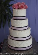 Navy and pink wedding cake