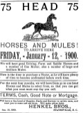 Advertisement for horses and mules from 1900 Henkel Bros.