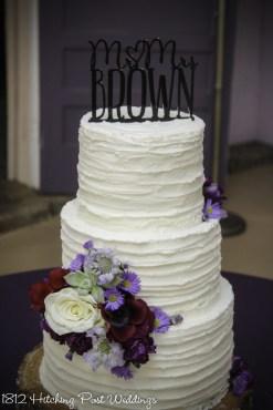 Rustic horizontal textured wedding cake