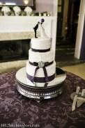 Plum balloons wedding cake