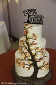 Autumn leaves on tree wedding cake
