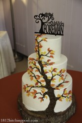 Autumn leaves on tree wedding cake