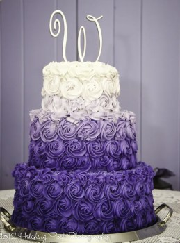 Puple and lilac wedding cake