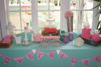 Aqua, pink and coral candy bar