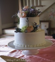 Textured cake with spring flowers