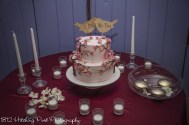 Pretty pink cake with cherry blossoms