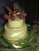 Yellow lemon wedding cake with bird's nest