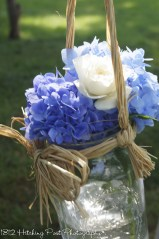 Mason jars with flowers from our garden