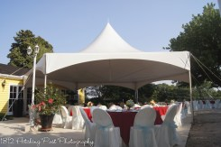 The tent, tables, and chairs