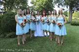 Ally and her bridesmaids in Tiffany blue and red