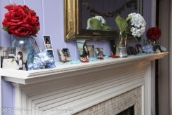 Photos of the couple on the mantle