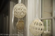 Hanging crochet balls provided by bride's mom
